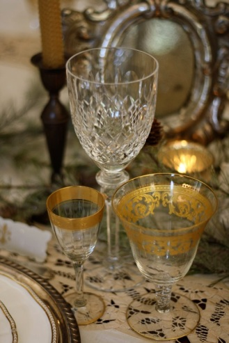 Mix and matched crystal for guests to sip out of.